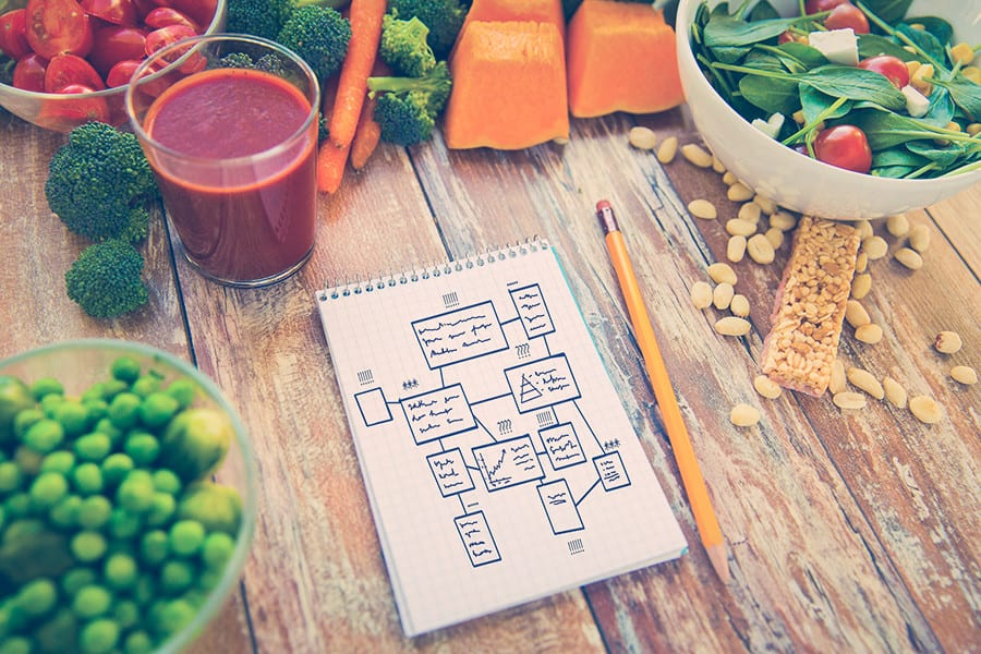 47366744 - healthy eating, vegetarian food, advertisement and culinary concept - close up of ripe vegetables and notebook with scheme on wooden table